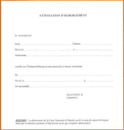 Mod Le De Lettre D Invitation D Hebergement 6 attestation sur l honneur d h 233 bergement curriculum