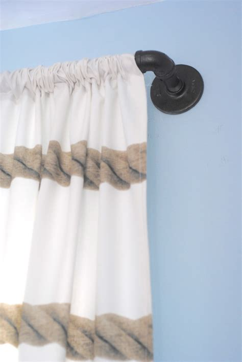 industrial looking curtain rods diy industrial pipe curtain rods boys room update
