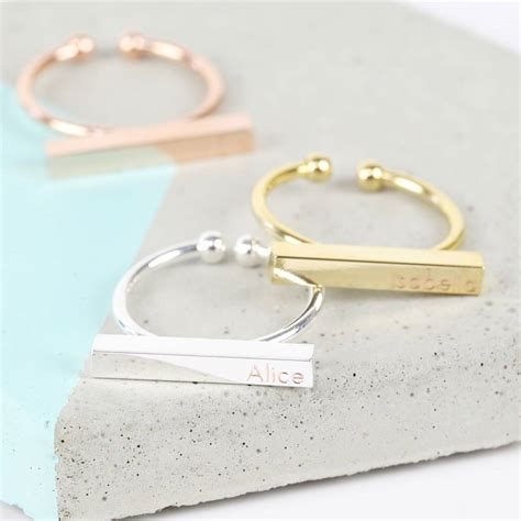 7 2 Finger Bar Rings by Personalised Bar Ring By Notonthehighstreet