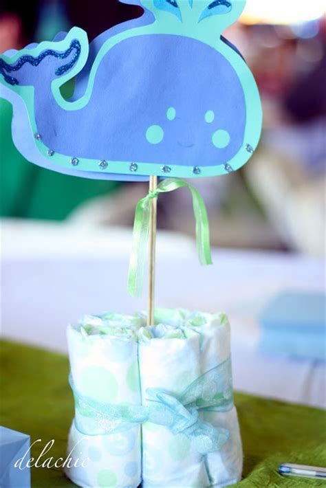 Whale Baby Shower Centerpieces by Delachic Whale Themed Baby Shower