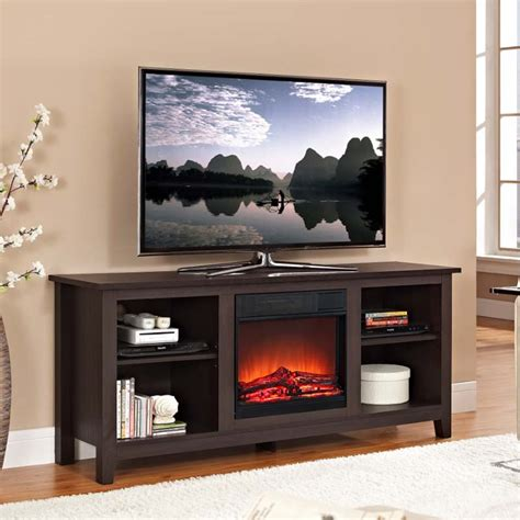 60 Inch Tv Fireplace by Walker Edison 60 Inch Tv Stand With Fireplace Insert Espresso W58fp18es