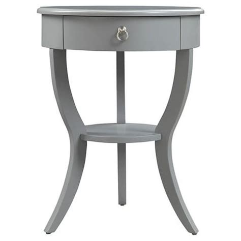 gray accent table gray curved legs 1 drawer accent table