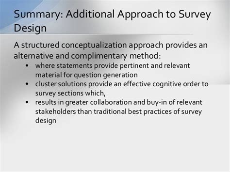 design for manufacturing a structured approach structured conceptualization approach to survey design