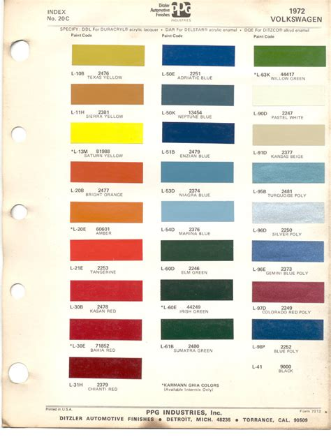paint chips 1972 beetle vw volkswagen