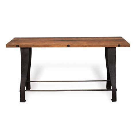 Reclaimed Wood Console Table Curtis Industrial Reclaimed Wood Cast Iron Console Table Kathy Kuo Home