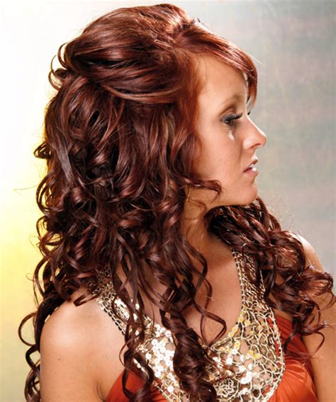 long curly formal hairstyles half up long curly formal half up hairstyle medium red