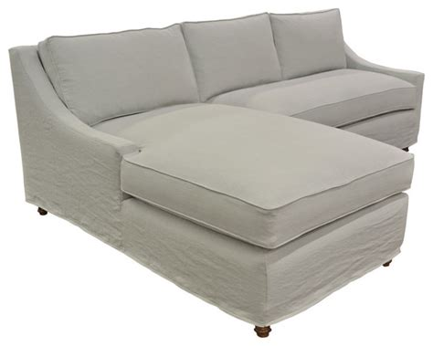 Slipcovered Sectionals Furniture by Slipcovered Linen Chaise Sectional Style Sectional Sofas Los Angeles By Quatrine