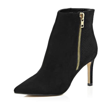 river island black pointed toe zip trim heeled ankle boots