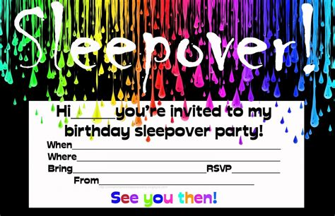 slumber party invitations for teenagers