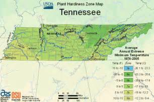 usda map of plant hardiness zone in tennessee