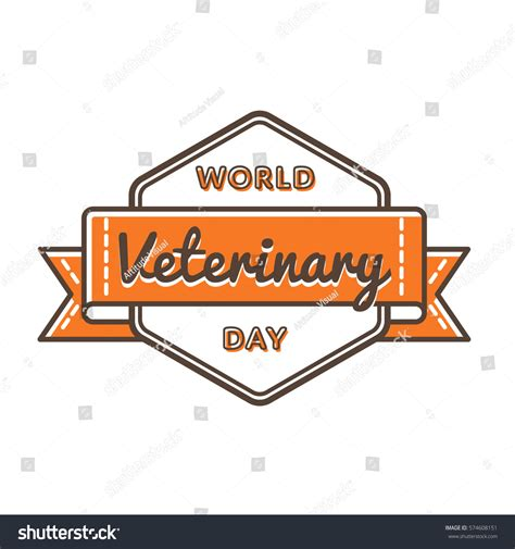 world veterinary day emblem isolated illustration stock illustration 574608151