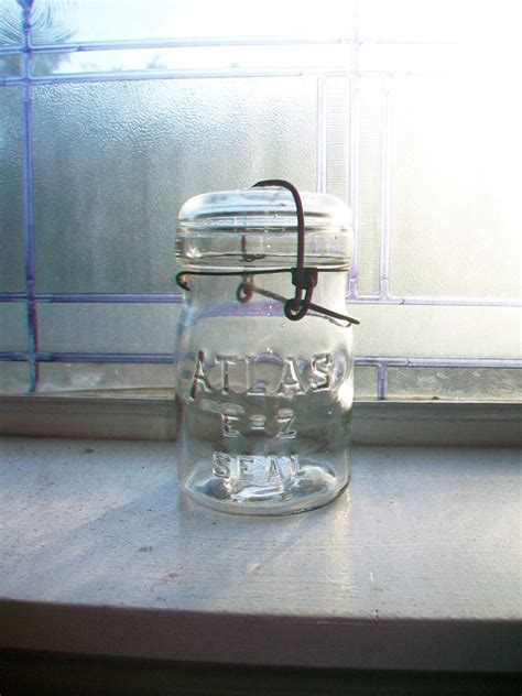 antique canning jat marked mcdonalds new perfect seal vintage atlas ez seal pint canning jar with glass lid 1920s