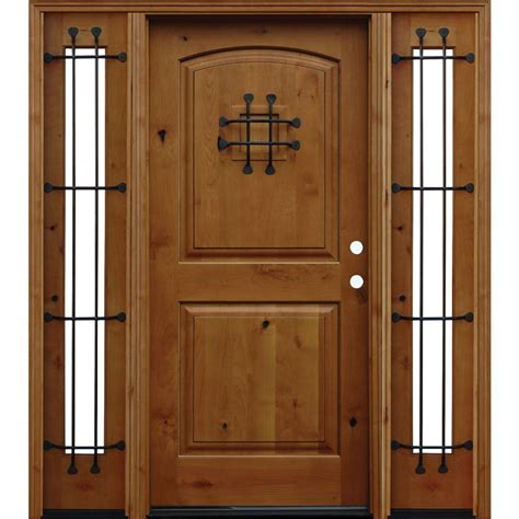 Front Wooden Doors Pacific Entries 70 In X 80 In Rustic Arched 2 Panel Stained Knotty Alder Wood Prehung Front