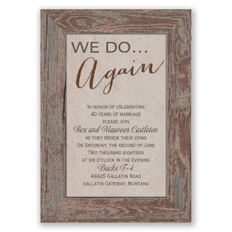 wedding vows renewal invitations wording tried and true vow renewal invitation brown rustic