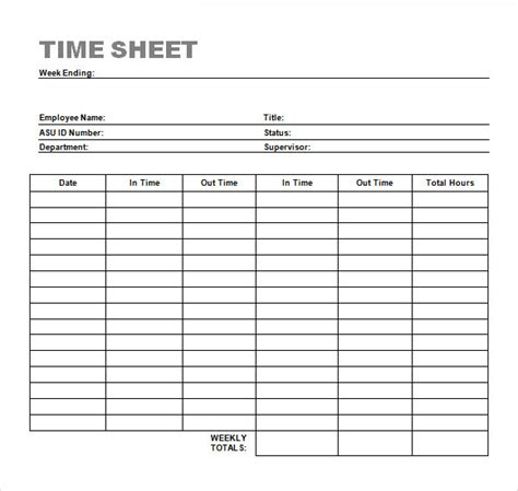 clock in sheet template sle time sheet 26 exle format
