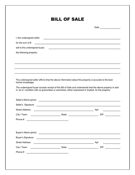 free printable massachusetts motorcycle bill of sale form template