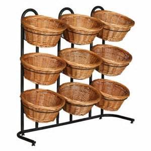 basket display rack 38 quot h 3 tier 9 round willow basket and floor stand display rack