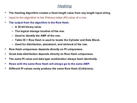teradata hashing algorithm teradata a z