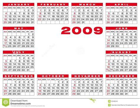 Calendario Z Calendar 2009 Stock Images Image 6346544