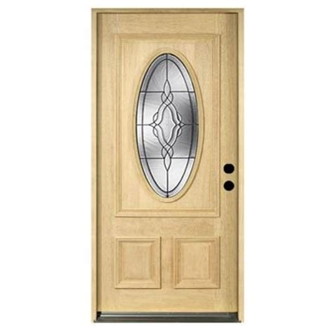 36 In X 80 In Solid Mahogany Type Unfinished Patina Oval Glass Front Entry Door