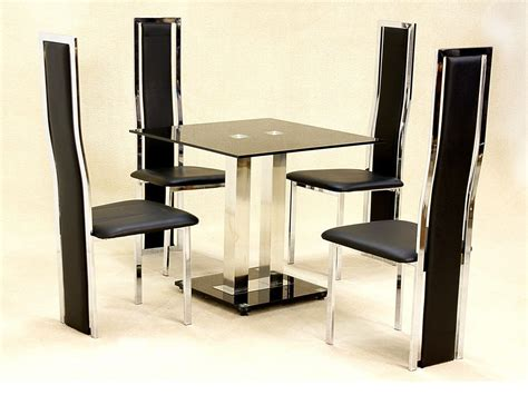 small square glass dining table   faux chairs  black