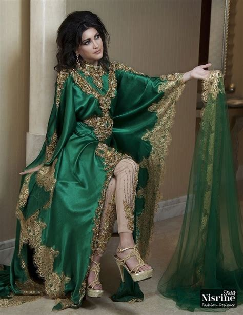 Kaftan Satin Payet Gold Syahilla vintage green arabic kaftan prom dresses sleeves gold applique satin abaya dubai evening