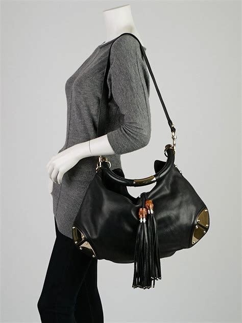 Gucci Rust Indy Large Top Handle Bag by Gucci Black Leather Large Babouska Indy Top Handle Bag