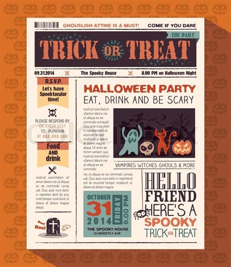 Newspaper Layout Styles | happy halloween party card vector design layout in