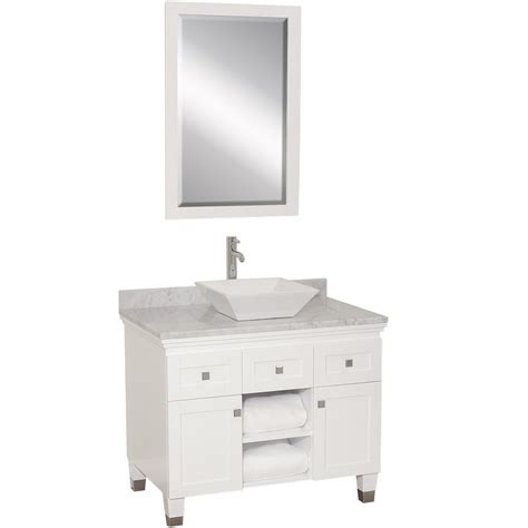White Bathroom Vanity by 36 Quot Premiere Single Vessel Sink Vanity White Bathgems