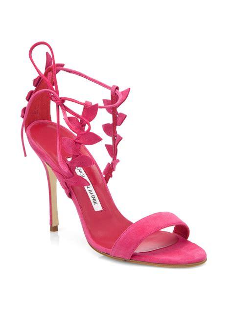 manolo blahnik pink suede strappy sandals manolo blahnik bolabasan suede leaf sandals in pink lyst