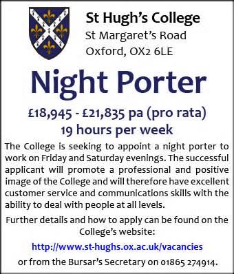 Kitchen Porter Vacancies In Oxford St Hugh S College Seeks Porter
