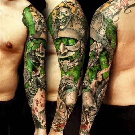 oriental sleeve tattoo designs japanese samurai warrior with kabuki mask by jess