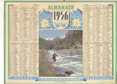 Calendrier Pecheur Calendrier Almanach Ptt Annee 1956 Pecheur De Truites