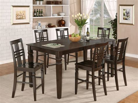 pc rectangular counter height dining room table set  bar stool  cappuccino ebay