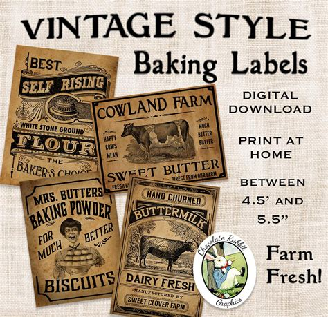Primitive Country Kitchen - vintage kitchen baking labels prim primitive digital download