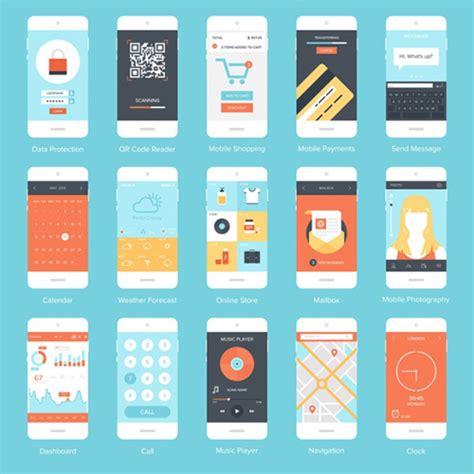 application design vector fashion phone application interface material vector set