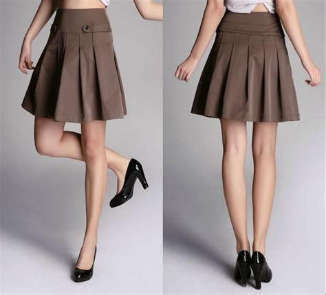china fashion a line coffee pleated button skirt
