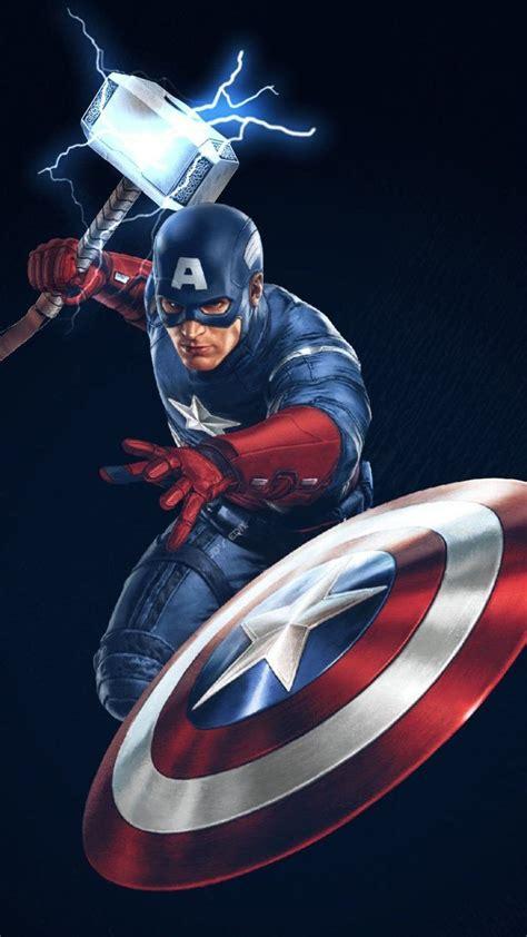 captain america  thor hammer worthy iphone wallpaper