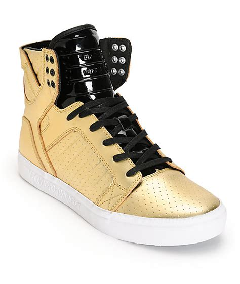 Black And Gold Ls supra skytop ls leather skate shoes zumiez