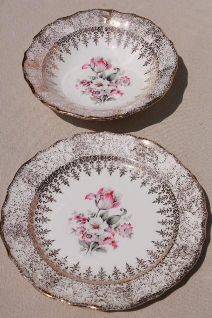 Tas Set Tulip vintage vogue china small bowls plates pink grey tulips embossed border w gold