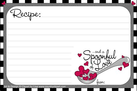 printable recipe for love cards free printable recipe cards country clipart by lisa