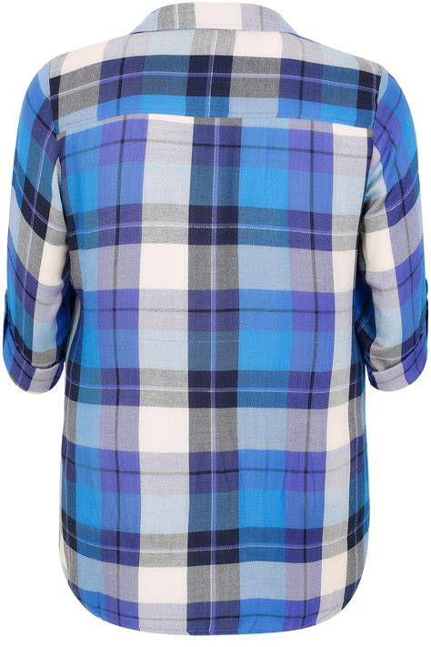 blue purple checked pleat detail shirt with metallic