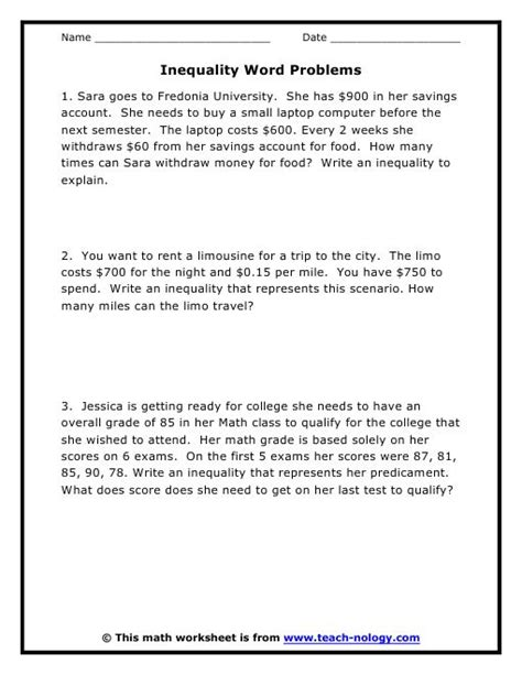 Linear Equations Word Problems Worksheet With Answers by Linear Inequality Word Problems Worksheet Pdf Lesupercoin