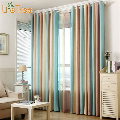 blue striped curtains bedroom aliexpress com buy 1pcs blue striped window curtains for