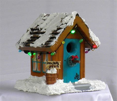 christmas bird house with working flashing lights