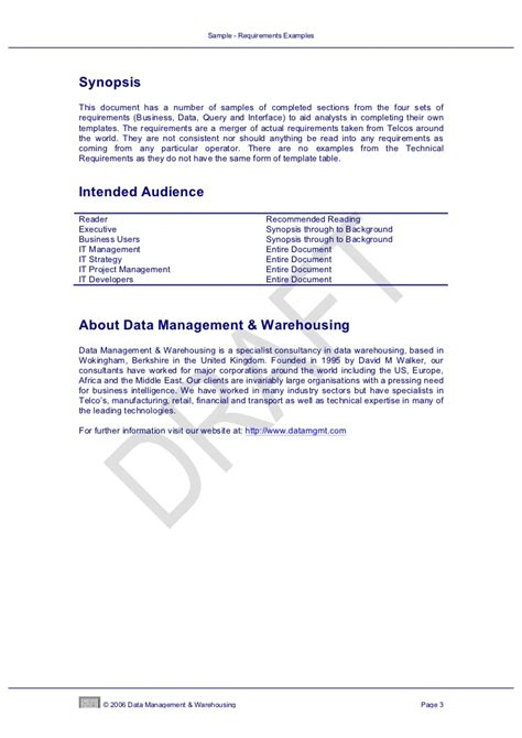 data warehouse business requirements template sle data warehouse requirements