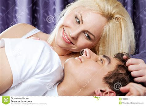 lovers in bed love couple bed happy royalty free stock photography