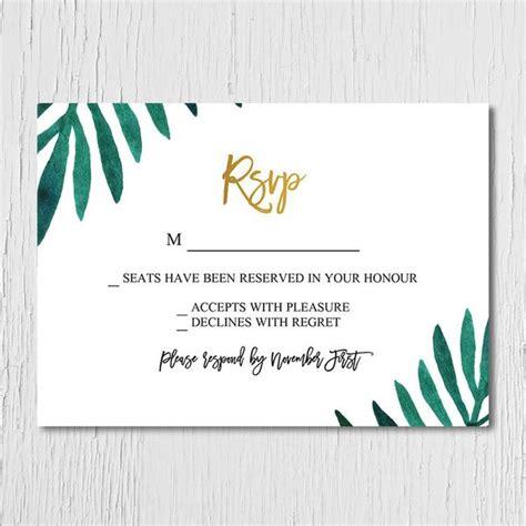 wedding reception rsvp wording sles tropical gold rsvp only custom favours