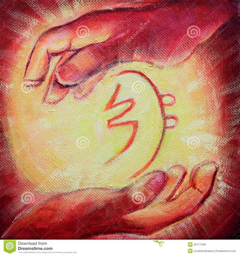 reiki healing symbol  healers hands stock illustration