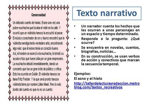 un testo narrativo tipos de textos tipos de textos texto narrativo un